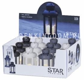 Фонарь  со свечкой на батарейках в ассортименте, 15 см, серый, черный и белый