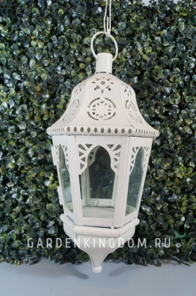 Фонарь - подсвечник подвесной, 30 см, с цепочкой 60 см, металл, стекло, белый