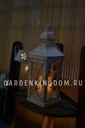 Фонарь - подсвечник, 26 см,  металл, стекло, бежевый