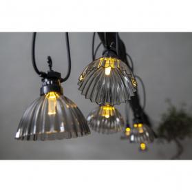 Гирлянда для улицы CIRCUS SHADE, 12 ламп, длина 4,95 м, черный провод, серые плафоны, теплый белый
