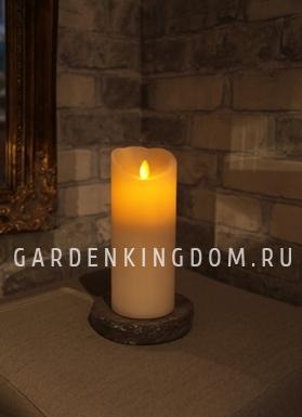 Свеча с эффектом мерцающего пламени, 20 см, таймер,  бежевая