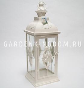 Фонарь - подсвечник, 53,5 см,  металл, стекло, кремовый