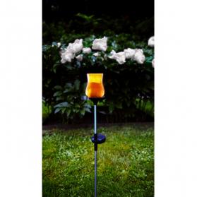 Садовый светильник на солнечных батареях LYON Solar energy, диаметр 7 см,  высота 52 см, янтарный