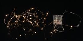Гирлянда STRING DEW DROP, на батарейках, 40 LED ламп, теплый белый, медный провод