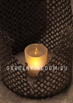 Свеча в стакане, задуваемая, 6,5 см,  пластик, белая