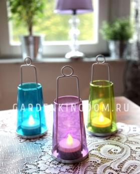 Светильник фонарь с цветным стеклом со свечкой на батарейках, 17 см