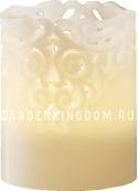 Свеча CLARY с кружевным узором, 10 см,  белый