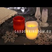 Свеча с эффектом оплавленной свечи, 10 см, таймер, белый воск