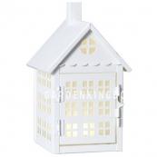 Фонарь  со свечкой на батарейках METAL HOUSE, 22 см, белый