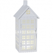 Фонарь  со свечкой на батарейках METAL HOUSE, 30 см, белый