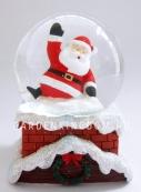 """Снежный шар музыкальный """"Санта и дымоход"""", диаметр 6,5 см."""