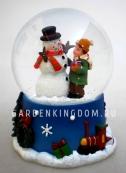 """Снежный шар музыкальный """"Снеговик с мальчиком"""", диаметр 6,5 см."""