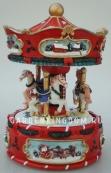 """Музыкальная шкатулка """"Три Лошадки красные"""", диаметр 13,5 см."""
