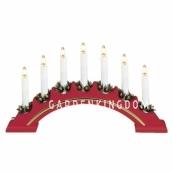 Горка рождественская VERA, 7 свечей, 23 см, красный