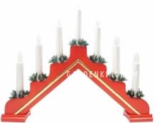 """Горка рождественская """"Рождество Lux"""", 7 свечей, 31 см, красная с золотой полосой"""