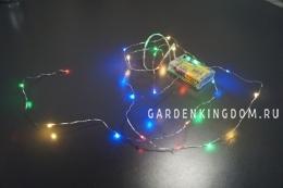 Гирлянда на батарейках Капли с эффектом мигания, 2,25 м, разноцветный