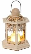 Светильник фонарь изящный со свечкой на батарейках, 20 см, светлое дерево