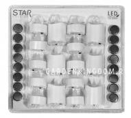 Комплект  свечей, 6 см х 6 шт., 4 см х 10 шт , пластик, белые