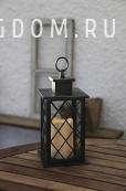 Светильник фонарь со свечкой на батарейках  JAIPUR, 30 см, черный