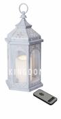 Светильник фонарь со свечкой на батарейках AMBER, 33 см, белый