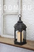 Светильник фонарь со свечкой на батарейках AMBER, 33 см, черный