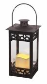 Светильник фонарь  со свечкой на батарейках, 24 см, черный