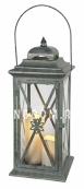 Светильник фонарь  с двумя свечками на батарейках LANTERN, 50 см, серый
