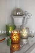 Свеча в стеклянном стакане с орнаментом, 8 см, серебрянная