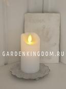 Свеча с эффектом мерцающего пламени, 10 см, таймер, белый воск