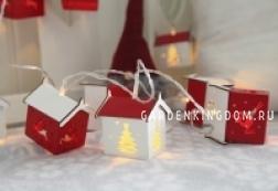 Гирлянда Домики, белый, красный, на батарейках, с таймером