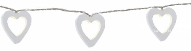 Гирлянда на батарейках WOODEN HEARTS, 1,85 м, белый