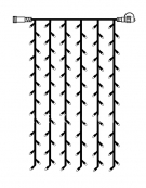 Гирлянда занавес-расширение, 1х2 м, холодный белый, серия SYSTEM DECOR