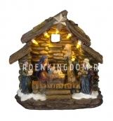Домик светящийся  Рождество, 13 см, на батарейках