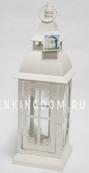 Фонарь - подсвечник, 42 см,  металл, стекло, кремовый
