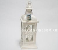 Фонарь - подсвечник, 34 см,  металл, стекло, кремовый