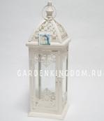 Фонарь - подсвечник, 55,5 см,  металл, стекло, кремовый