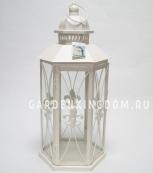 Фонарь - подсвечник, 50 см,  металл, стекло, кремовый