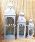 Фонарь - подсвечник, 81,5 см,  металл, стекло,  серый