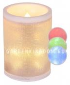 Свеча блестящая меняющая цвета, 10 см,  пластик, белая