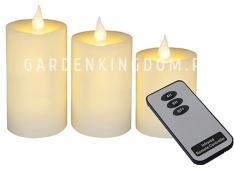 Комплект свечей с таймером и пультом,  3 шт., желтый  воск