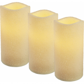 Комплект из трех свечей SHINE, высота 10 см, 12 см, 15 см, пластик