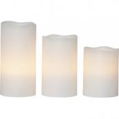 Комплект из трех свечей с пультом, высота 10 см, 12 см, 15 см, диаметр 7,5 см, пластик, цвет белый