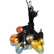 Гирлянда для улицы SMALL HOOKY, 16 ламп, длина 4,5 м, черный провод, цветные плафоны, теплый белый
