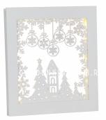 Светильник рождественский FRAME SNOWFLAKE  подвесной, 27 см, на батарейках, белый