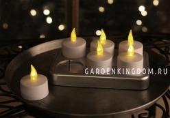 Комплект свечей с подзарядкой, 6 шт., пластик, белый
