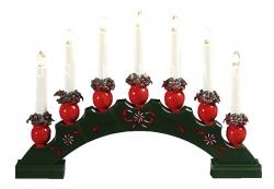 Горка рождественская SANNA-7, 7 свечей, 27 см, зеленая
