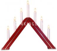 Горка рождественская JARVE, 7 свечей, 35 см, красная