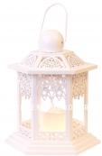 Светильник фонарь изящный со свечкой на батарейках, 20 см, белый