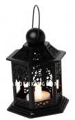 Светильник фонарь изящный со свечкой на батарейках, 13 см, черный