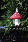 Садовый светильник Мухомор с белкой Solar energy